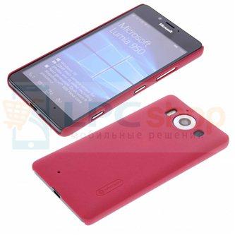"Чехол накладка Nillkin ""Frosted"" для Microsoft Lumia 950 Dual (RM-1118) - Красный"