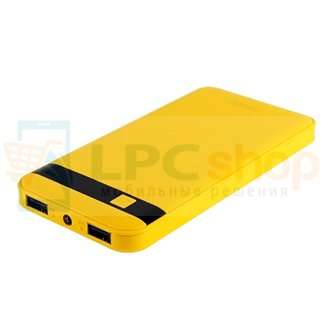 Дополнительный аккумулятор (Power Bank) Remax Proda Gentelman 12000 mAh (2 USB 1000/2100 mAh) фонарик/дисплей желтый (PR1-021)