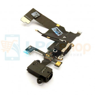 Шлейф разъема зарядки iPhone 5 разъем гарнитуры / микрофон Черный - Оригинал