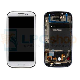 Дисплей для Samsung i9300I в сборе с рамкой Белый - Оригинал