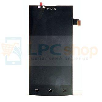 Дисплей для Philips S398 в сборе с тачскрином Черный