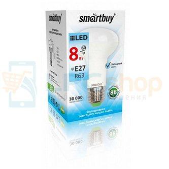 Cветодиодная лампа SMART BUY R63-8W-220V-4000K- E27 (рефлекторная, Белый свет) (1/10/50)