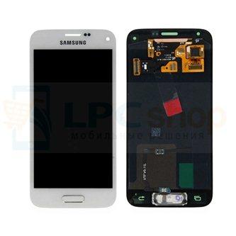Дисплей для Samsung G800F / G800H / S5 mini / S5 mini Duos в сборе с тачскрином Белый - Оригинал