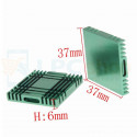 Радиатор (Теплоотвод) Алюминиевый 37 мм х 37 мм х 6 мм Зеленый