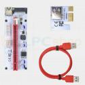 Райзер для видеокарт с LED лампочкой PCI-E 1x to 16x 60 см 3в1 USB 3.0 Ver 008s IDE / SATA / 6PIN