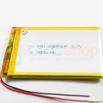 Аккумулятор универсальный 406590p 3,7v Li-Pol 3000 mAh (4*65*90 mm)