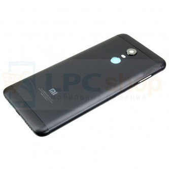 Крышка(задняя) Xiaomi Redmi 5 Plus Черная + Кнопки + Линза Камеры