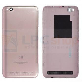 Крышка(задняя) Xiaomi Redmi 5A (Dual sim) Розовое золото + Кнопки + Линза Камеры
