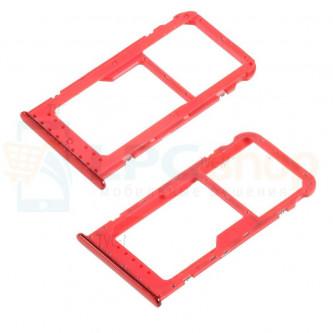 Лоток сим карты и карты памяти Huawei Honor 6C Pro Красный
