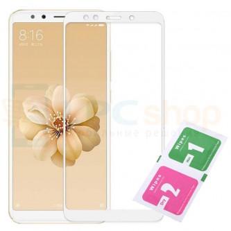 2,5D Защитное стекло (Полное покрытие) для Xiaomi Mi A2 / Mi 6X Белое