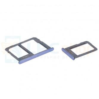 Лоток сим карты и карты памяти Samsung J4+ (2018) J415FD / J6+ (2018) J610FD (для 2-х сим карт) (комплект из 2шт) Синий