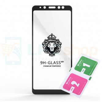 Защитное стекло (Full Screen) для Samsung A730F (A8+ 2018) Черное (Полное покрытие)