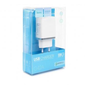 СЗУ USB Hoco C42A (быстрая зарядка QC 3.0) Белый