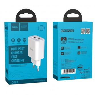 СЗУ USB Hoco C62A (2A, 2 порта) Белый
