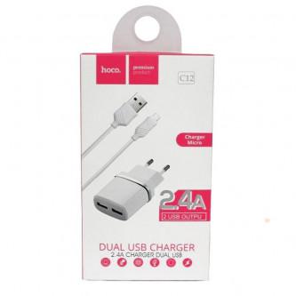 СЗУ USB Hoco C12 (2A, 2 порта, кабель Lightning) Белый