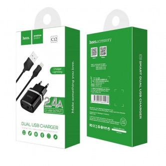 СЗУ USB Hoco C12 (2A, 2 порта, кабель Lightning) Черный