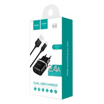 СЗУ USB Hoco C12 (2A, 2 порта, кабель MicroUSB) Черный