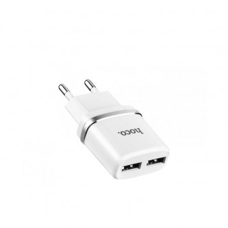 СЗУ USB Hoco C12 (2A, 2 порта) Белый