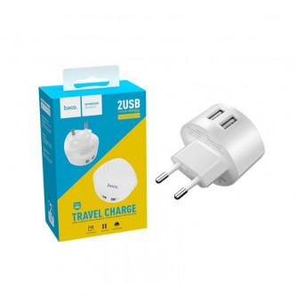 СЗУ USB Hoco C67A (2.4A, 2 порта) Белый