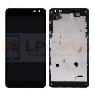 Дисплей для Microsoft Lumia 535 (Rev. 2C) (RM-1090) с тачскрином в рамке Черный ОРИГИНАЛ