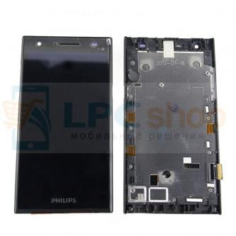 Дисплей для Philips S396 в сборе с рамкой Черный