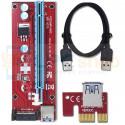 Райзер для видеокарт PCI-E 1x to 16x 60 см / SATA питание 15 pin / USB 3.0 Ver 007S