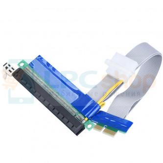 Райзер для видеокарт PCI-E 1x to 16x 20 см с дополнительным питанием IDE 4pin