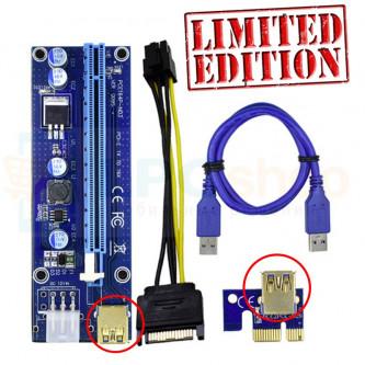 "Райзер для видеокарт PCI-E 1x to 16x USB 3.0 Ver 009s ""6PIN+Sata"" 55см Золотой Gold Edition"