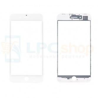 Стекло (для переклейки) iPhone 8 Plus в сборе с рамкой Белое