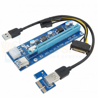 Райзер для видеокарт PCI-E 1x to 16x 60 см 3в1 USB 3.0 Ver 007 IDE / SATA / 6PIN