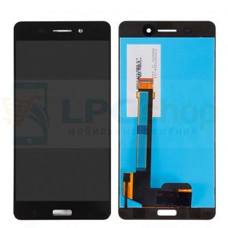 Дисплей Nokia 6 в сборе с тачскрином Черный - Высокое качество (Орг)