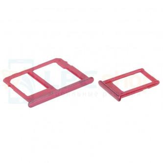 Лоток сим карты и карты памяти Samsung J4+ (2018) J415FD / J6+ (2018) J610FD (для 2-х сим карт) (комплект из 2шт) Красный