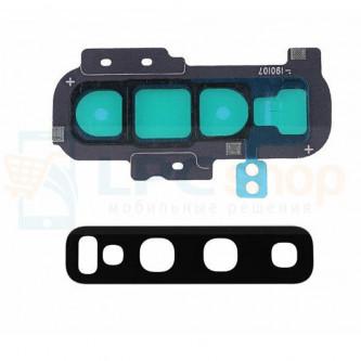 Стекло (для переклейки) камеры Samsung S10 Plus G975F c рамкой Черное