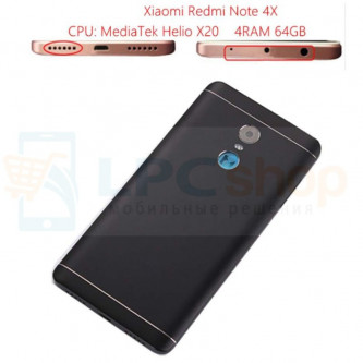 Крышка(задняя) Xiaomi Redmi Note 4X (MTK Version) Черный (ик порт по центру)