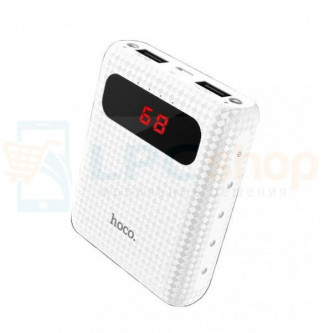 Аккумулятор (Power Bank) Hoco B20 10000 mAh (2A, 2USB, с дисплеем) Белый