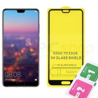 5D Бронестекло (защитное стекло) для Huawei P20 Pro (Полное покрытие) Черное
