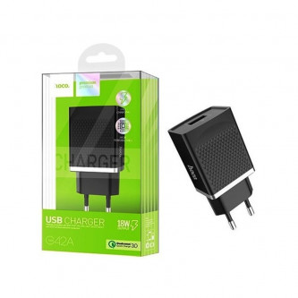 СЗУ USB Hoco C42A (быстрая зарядка QC 3.0) Черный