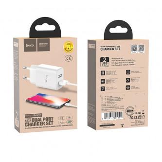 СЗУ USB Hoco C62A (2A, 2 порта, кабель Lightning) Белый