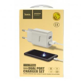 СЗУ USB Hoco C62A (2A, 2 порта, кабель MicroUSB) Белый