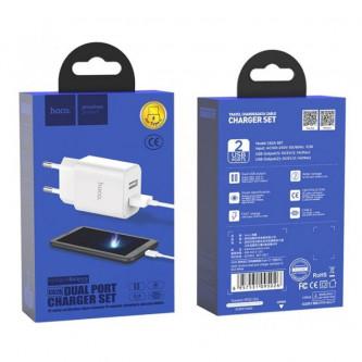 СЗУ USB Hoco C62A (2A, 2 порта, кабель Type-C) Белый
