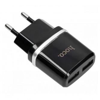 СЗУ USB Hoco C12 (2A, 2 порта) Черный