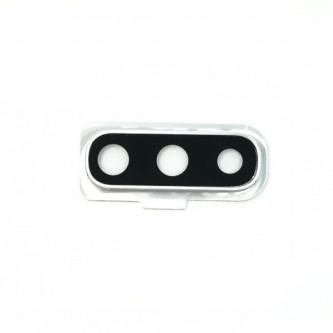 Стекло задней камеры Samsung Galaxy A70 A705F c белой рамкой (silver)