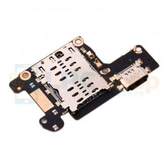 Шлейф разъема зарядки для Xiaomi Mi 9T (плата) и разъем SIM-карты