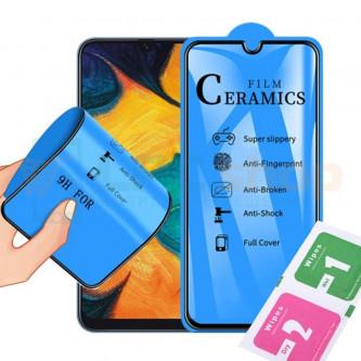 Защитная пленка Ceramics для Samsung A750F (A7 2018) Черная ( силикон )