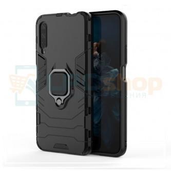 Защитный чехол - накладка для Huawei Honor 9X Черный - без выреза под отпечаток (с магнитом для держателя и кольцом)