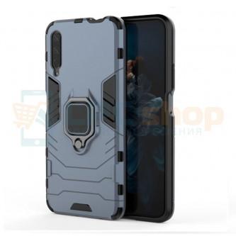 Защитный чехол - накладка для Huawei Honor 9X Синий - без выреза под отпечаток (с магнитом для держателя и кольцом)