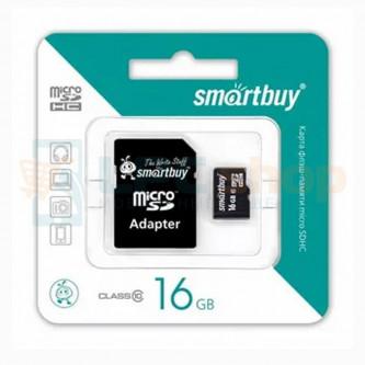 Карта памяти MicroSDHC 16GB Class 10 Smart Buy + SD адаптер