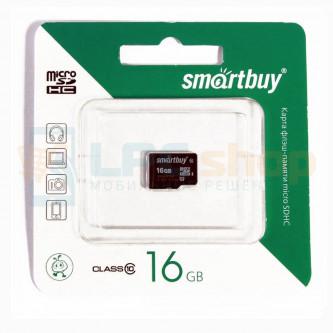 Карта памяти MicroSDHC 16GB Class 10 Smart Buy без адаптера