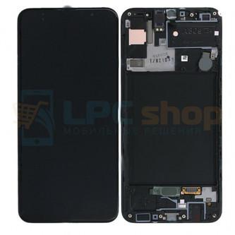 Дисплей для Samsung A307F (A30s) с тачскрином в рамке Черный - Оригинал