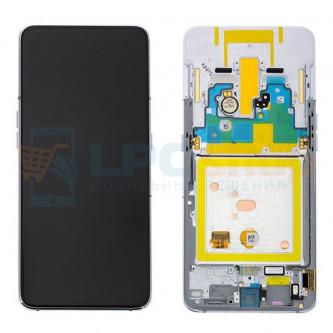 Дисплей для для Samsung A80 A805F c рамкой Серебро - Оригинал